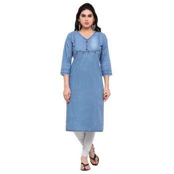Blue plain cotton kurtas-and-kurtis