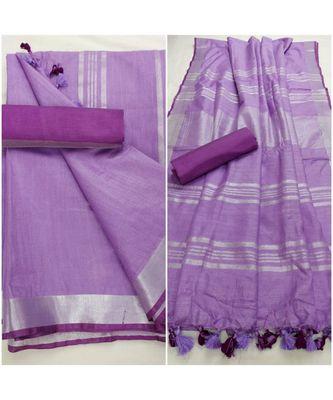 Unitex Fashion  purple woven linen saree with blouse