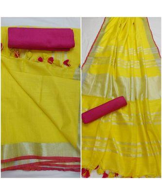 Unitex Fashion yellow woven linen saree with blouse