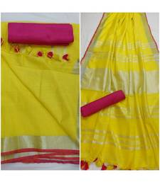 Unitex Fashion yellow woven linen saree with blouse