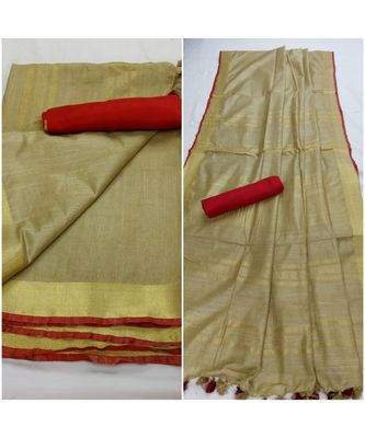 Unitex Fashion Beige woven linen saree with blouse