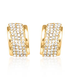 Buy Gold plated encrusted diamond hoop earring for women. hoop online