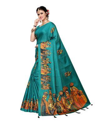 Turquoise Blue Colour plain synthetic khadi silk saree with blouse