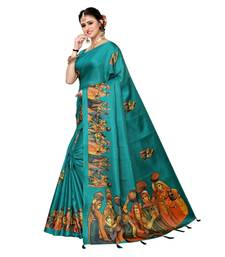 Turquoise Blue Colour plain synthetic khadi silk saree with blouse