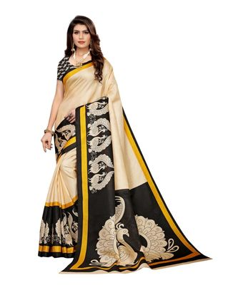 Beige and black Coloured plain synthetic khadi silk saree with blouse