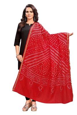Red-Coloured Bandhani Print Dupatta and has a Zari Border