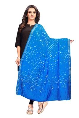 Blue-Coloured Bandhani Print Dupatta and has a Zari Border