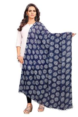 Indigo-Coloured Jaipuri Print Dupatta and has a tasselled border