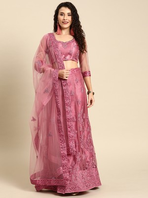 Pink embroidered Net unstitched ghagra choli