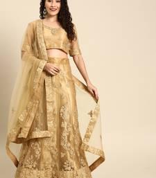 Beige embroidered Net unstitched ghagra choli