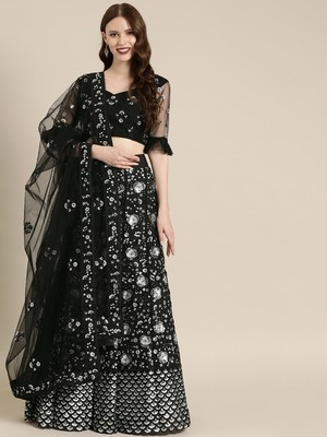 Black embroidered Net unstitched ghagra choli