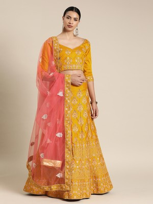 Yellow embroidered art silk unstitched ghagra choli