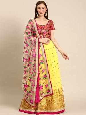 Yellow embroidered Net unstitched ghagra choli