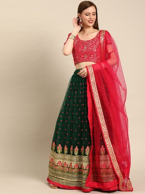 Green embroidered Net unstitched ghagra choli