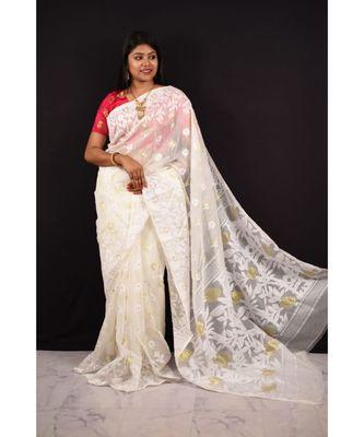 White Weaving Work Cotton Silk Jamdani Saree Without Blouse