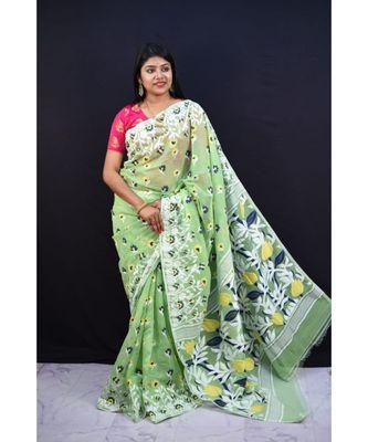 Olive Green Weaving Work Cotton Silk Jamdani Saree Without Blouse