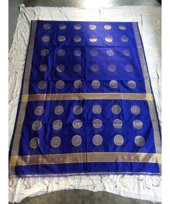 Blue Weaving Work Cotton Silk Handloom Saree With Blouse