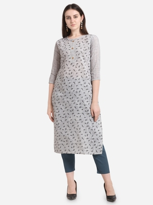 Grey printed cotton long-kurtis