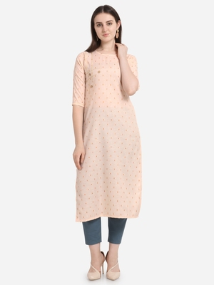 Peach printed cotton long-kurtis