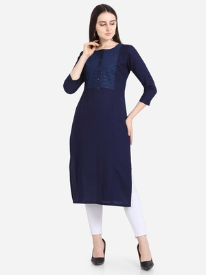 Blue embroidered viscose kurtas-and-kurtis