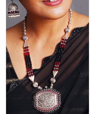 black metallic mandala necklace set