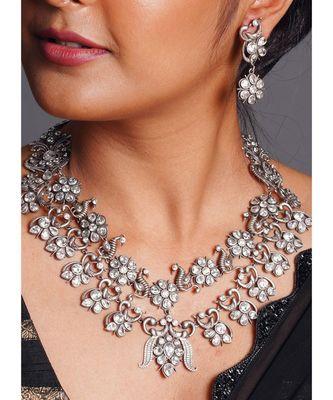 black antique metallic necklace set with crystals