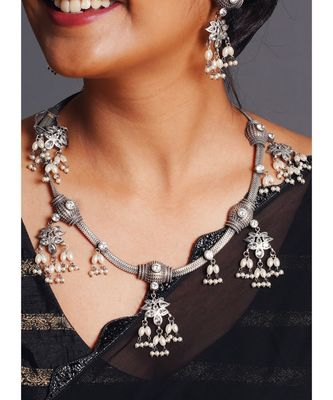 black metallic banjaran necklace set