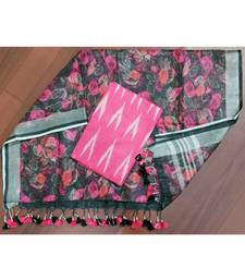 pink woven cotton unstitched top with dupatta