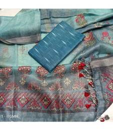 grey woven cotton unstitched top with dupatta