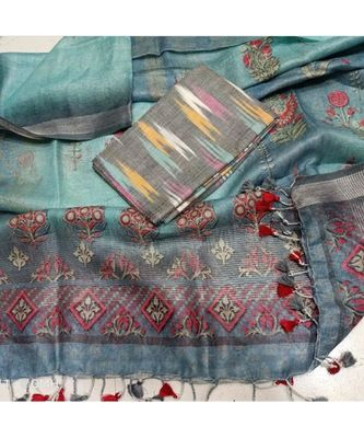brown woven cotton unstitched top with dupatta