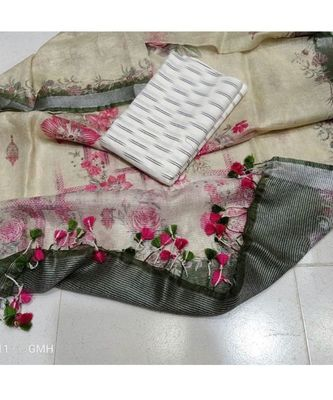 white woven cotton unstitched top with dupatta