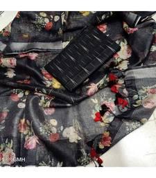 black woven cotton unstitched top with dupatta