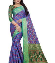 Blue woven banarasi silk saree