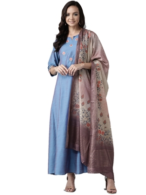Blue printed art silk ethnic-kurtis