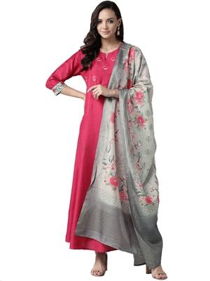 Pink printed art silk ethnic-kurtis