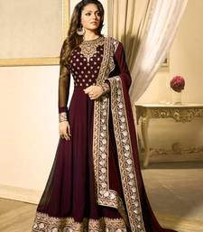 Buy Wine embroidered faux georgette salwar