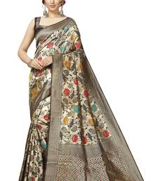 Off White Lichi Silk Floral Print Saree with Blouse Piece