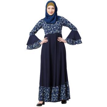 Printed Frilled abaya- Navy Blue