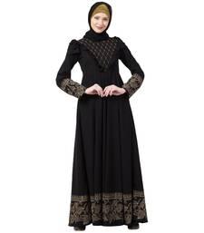 Designer printed Umbrella abaya with handwork- Black