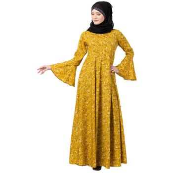 Mustard printed Umbrella abaya with bell sleeves