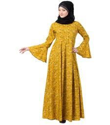 Mustard printed Umbrella abaya with bell sleeves