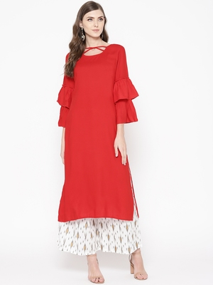 Red plain Rayon Kurta and Palazzo Set