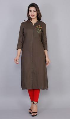 Brown embroidered viscose ethnic-kurtis