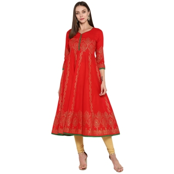 Red printed cotton cotton-kurtis