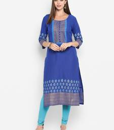 Royal-blue printed cotton cotton-kurtis