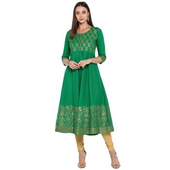 Green printed cotton cotton-kurtis