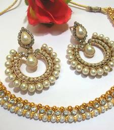 Buy White stone tilak pearl polki necklace set necklace-set online