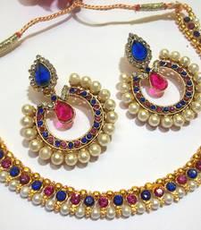 Buy Pink and Blue Tilak Polki Necklace Set eid-jewellery online