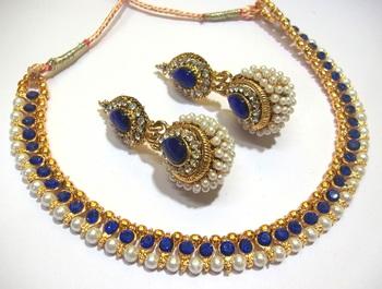 Dark Blue Big Gota Pearl Polki Necklace Set