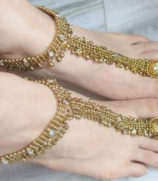 Buy ANTIQUE GOLD  PAYAL ANKLET PAIR ATTACHED TOE RING anklet online